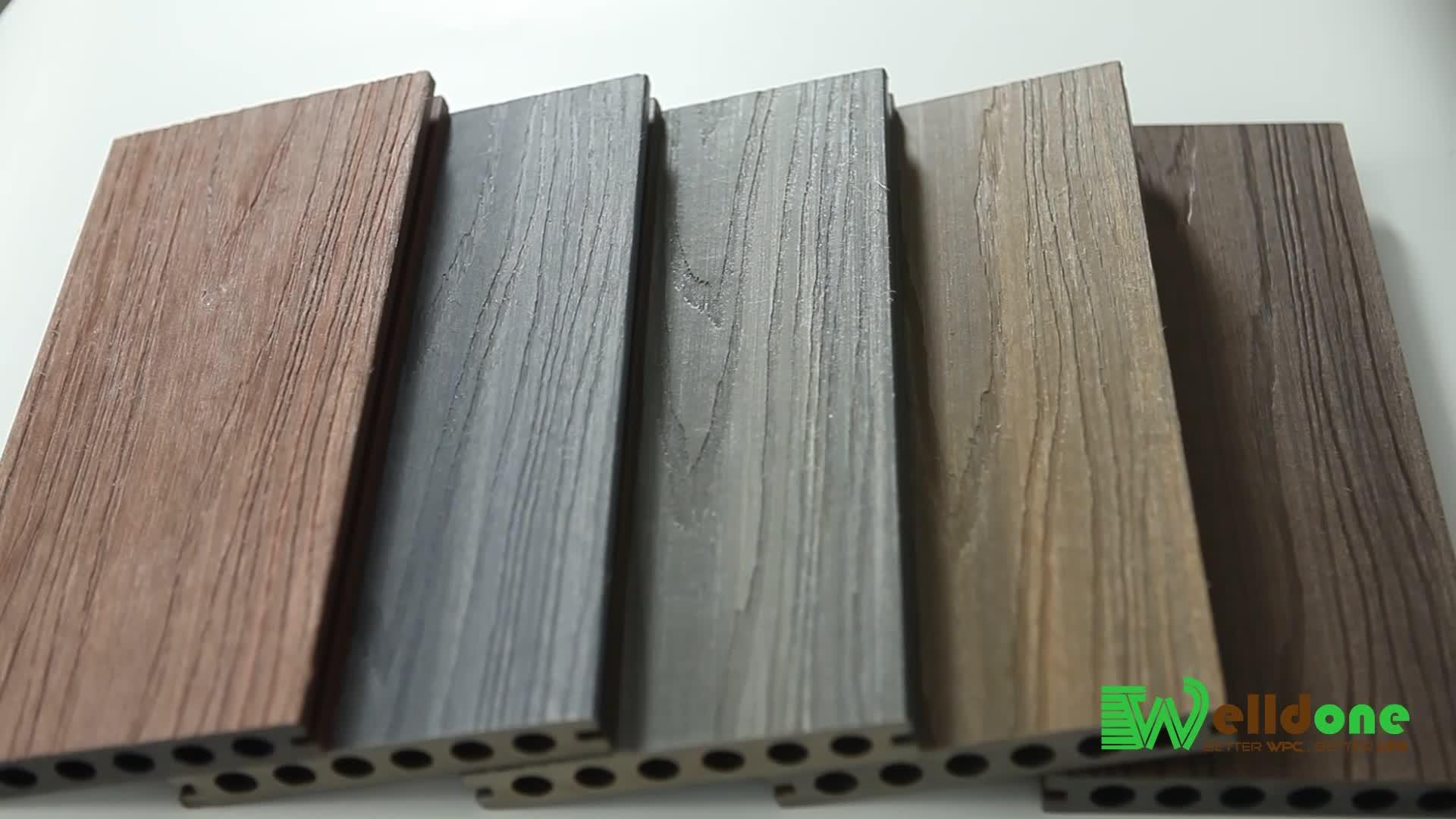 Textura do Grão de Madeira Em Relevo à prova d' água ao ar livre Composto co-extrusão de WPC piso Decks