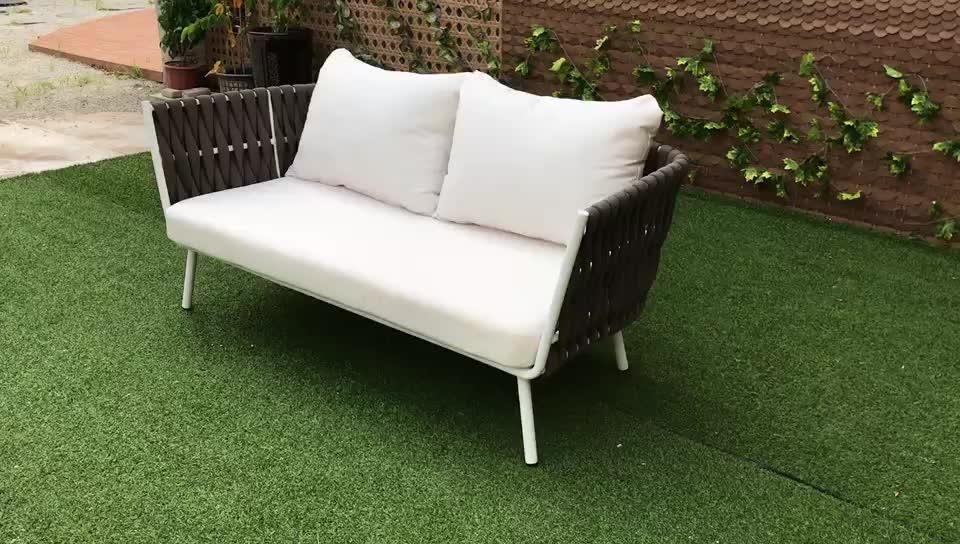 Hotel königlichen garten Terrasse Outdoor lounge-sets aluminium sofa seil sofa und woven stühle villa Resort strand sofa outdoor möbel