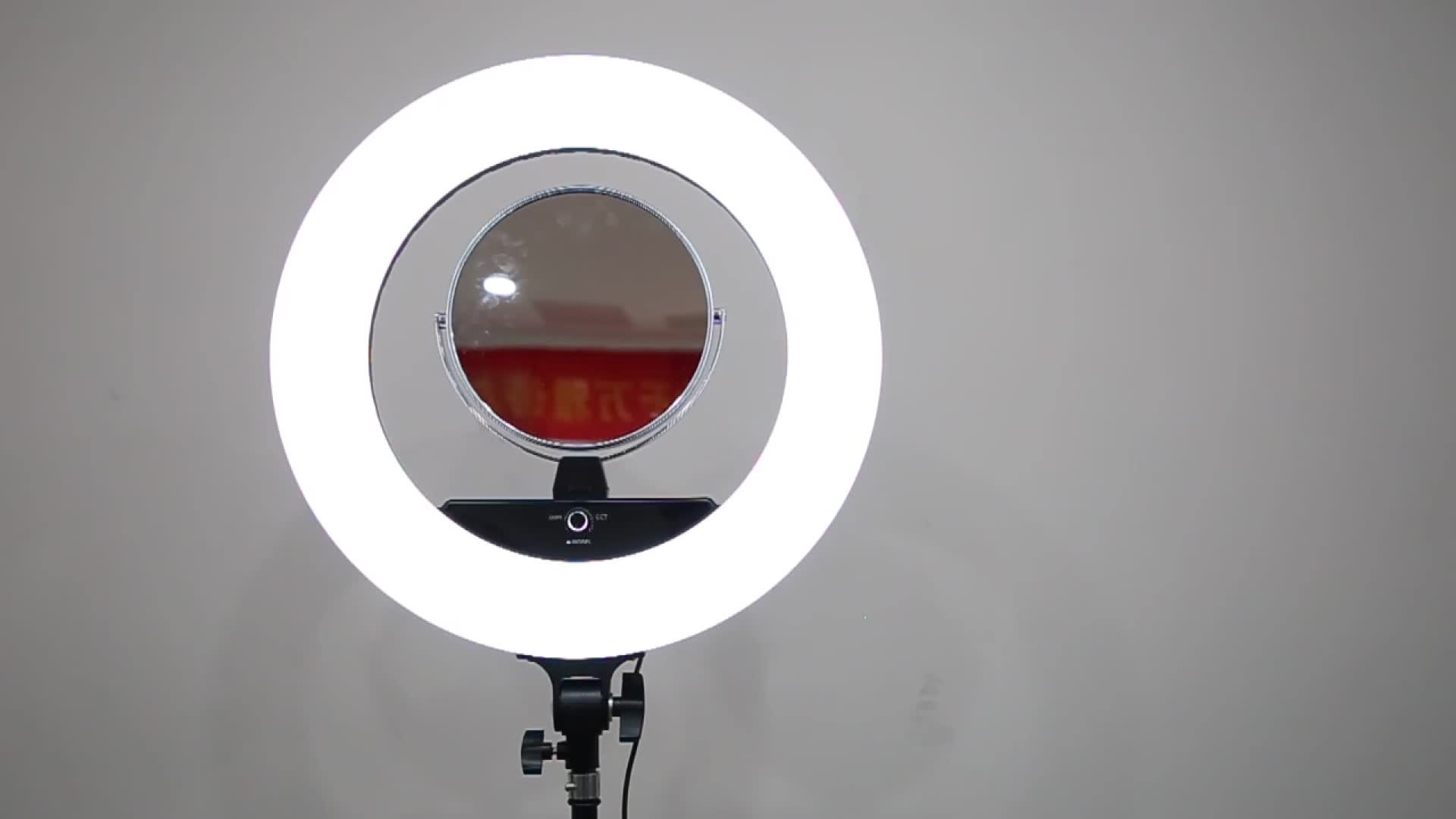 yaeshii 18inch Beauty Ring Light makeup with mirror and Z Table Stand, circular photography light stepless adjustable