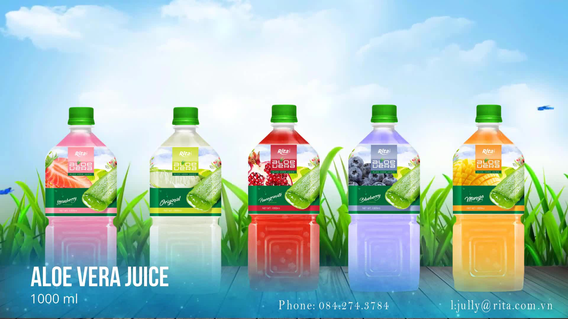OEM Brand 1000ml Pet Bottle Pomegranate Flavor Aloe Vera Drink