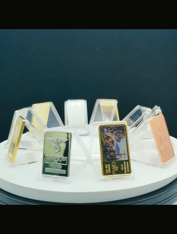 Оптовая продажа, гравированный брелок с логотипом 1 г 999 Серебряный слиток 1 унция поддельные/покрытые настоящим золотом кирпич бары покрытые 24k чистый слиток сувенир