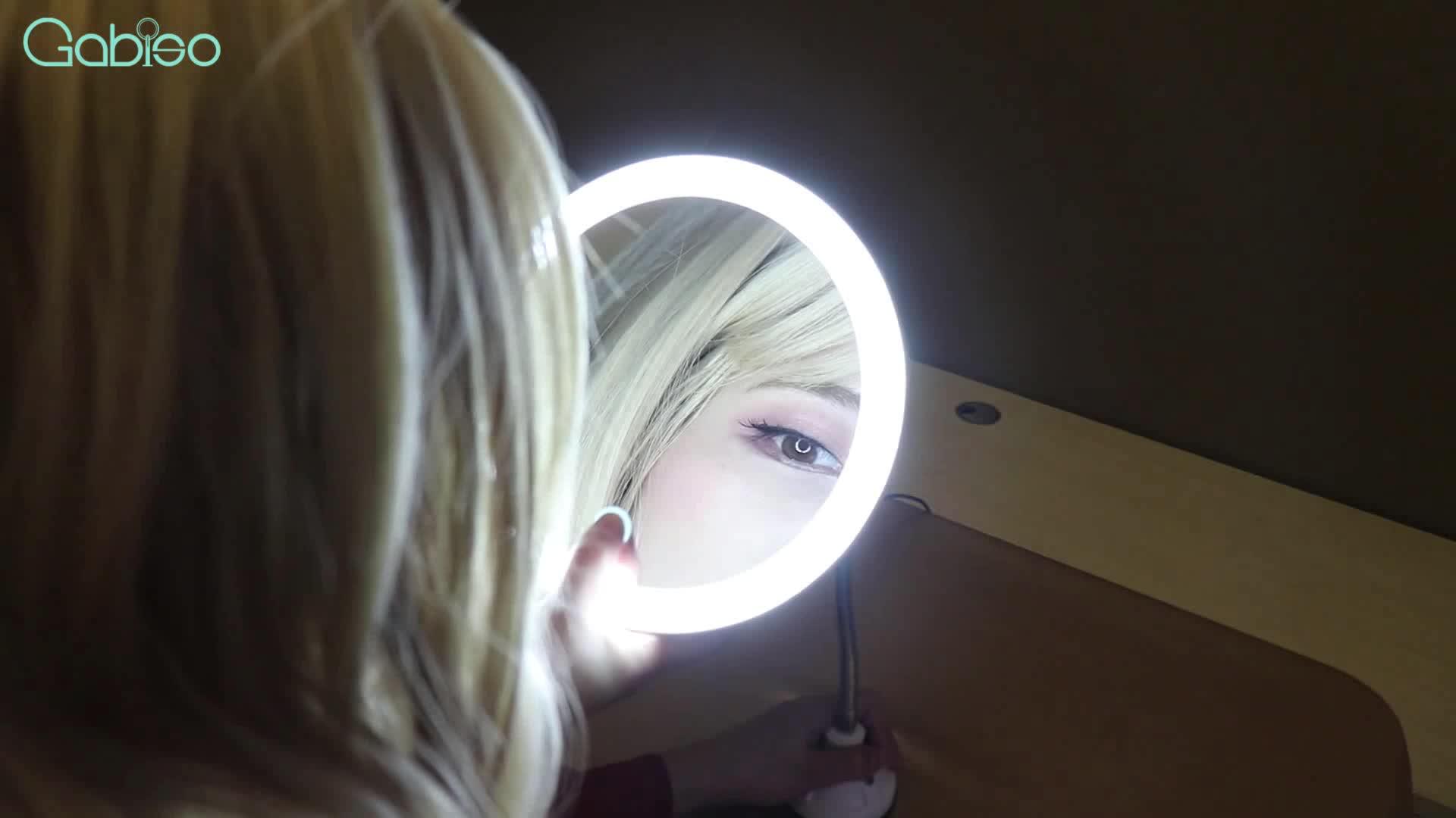 קיר תלוי 360 תואר סיבוב מגע מסך מראת איפור עם אורות מתקפל לאמבטיה נייד קומפקטי כיס מראה