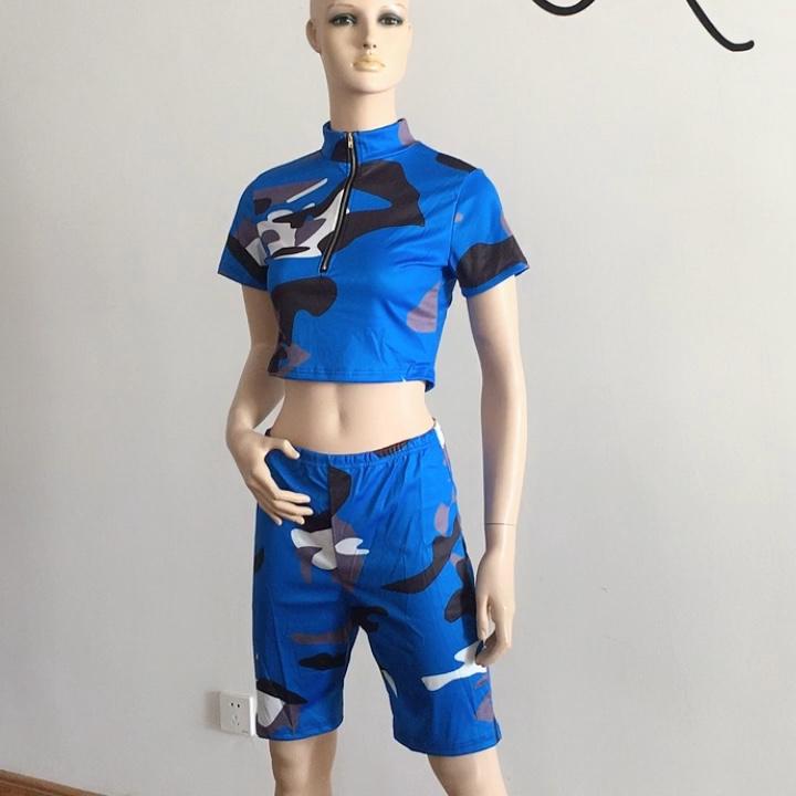 Neue Camo Drucken Zwei Stück Set Frauen Tops mit Shorts Neueste Design Kleidung