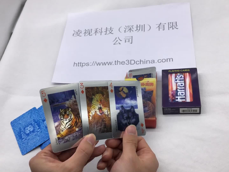 Alta calidad 3d lenticular tamaño personalizado jugando al poker tarjetas para regalos de la promoción
