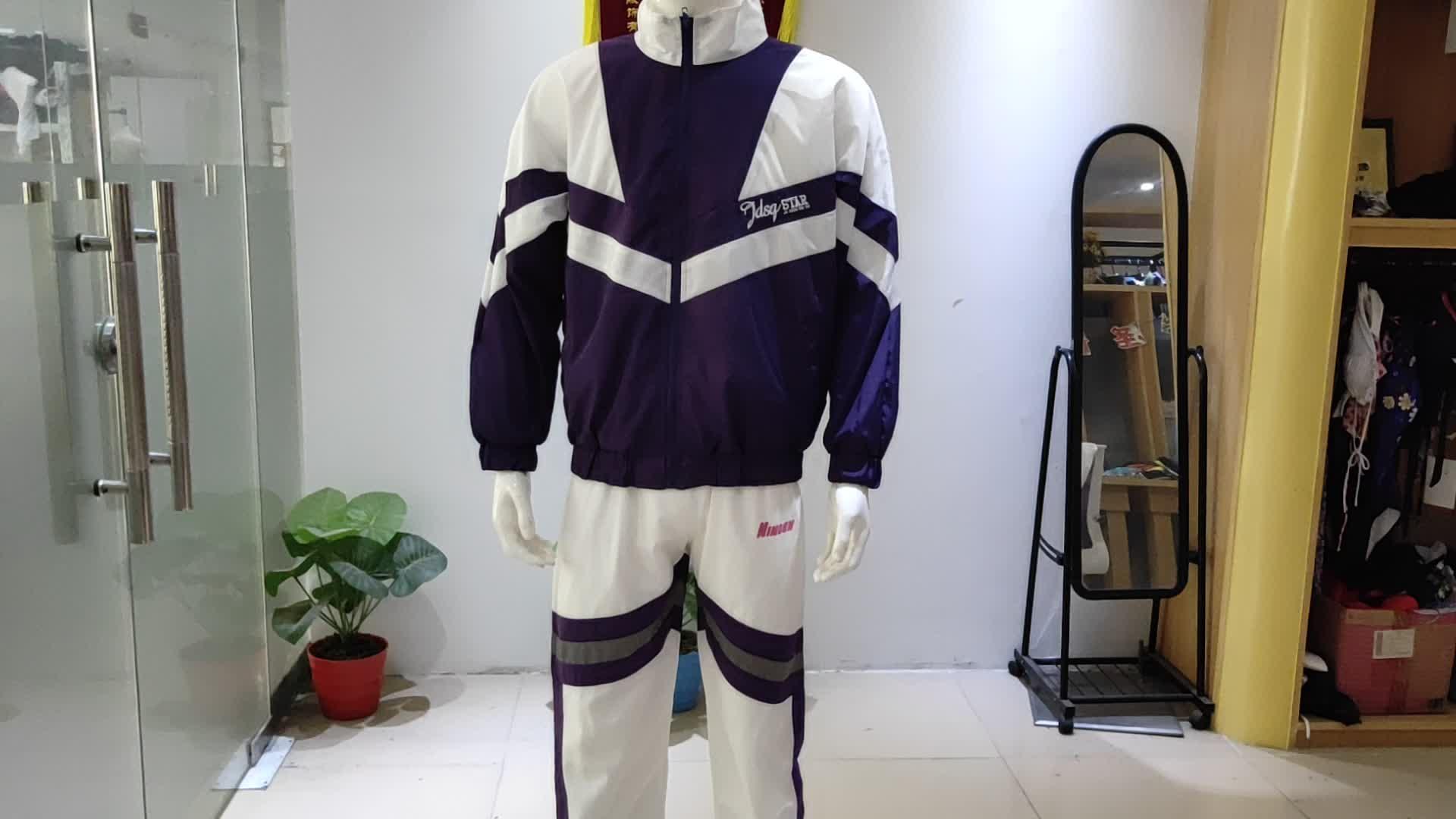 Fabrik wasserdichte nylon leichte trainingsanzug herren windbreaker jogging track anzug set sportswear
