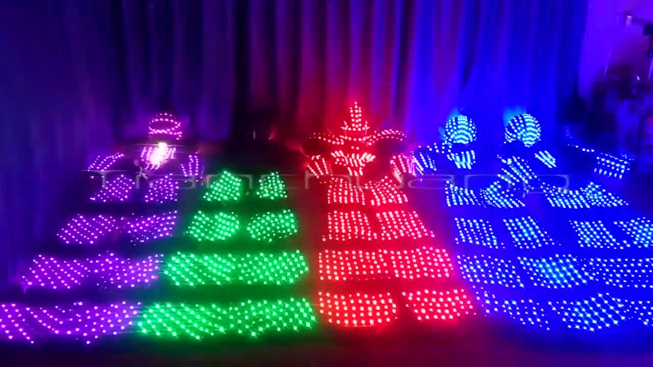 LED Stilt Walker Costumes LED Light Tron Dance Suit Led Robot Costumes Led Light Dance Clothing wireless control