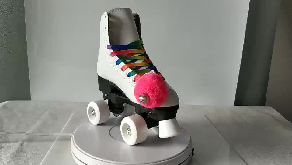 Colorful rainbow shoelace White colour leather boot PU wheels riedell type womens quad roller skates