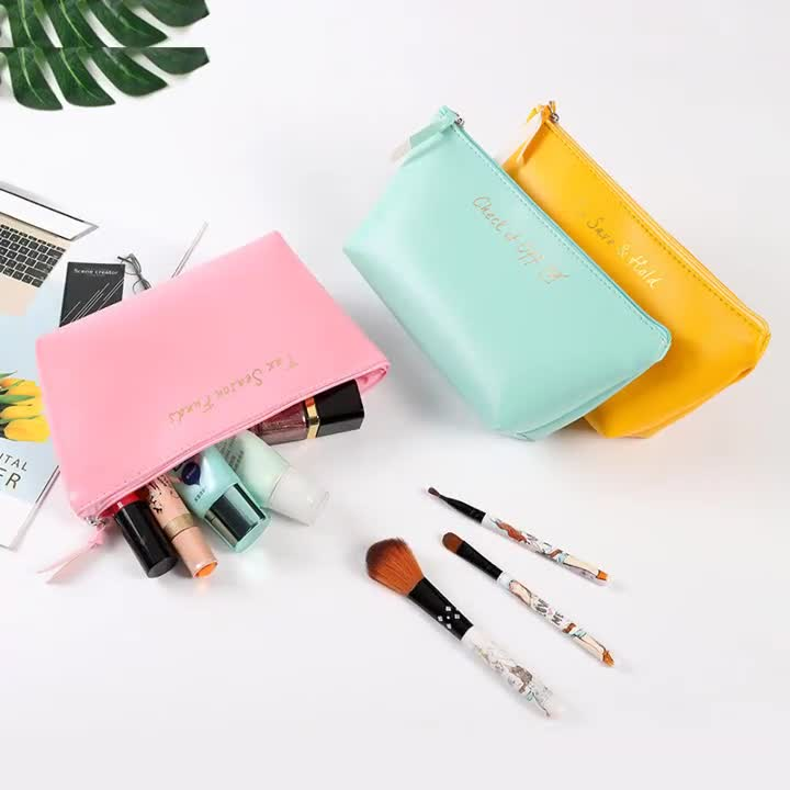 2020 hot selling Custom Logo cosmetic bag PU leather stationery bag makeup pencil case brush organizer beauty bag in stock