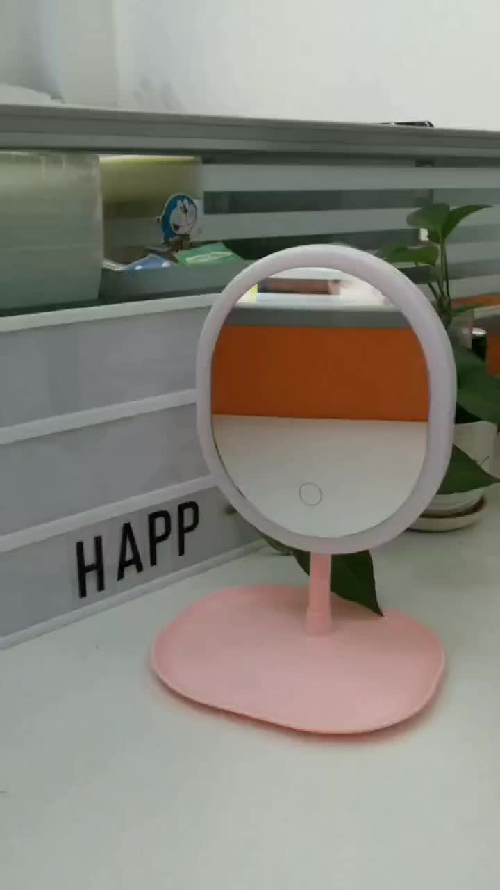 New products Pink make up led lighting magnifying table mirror