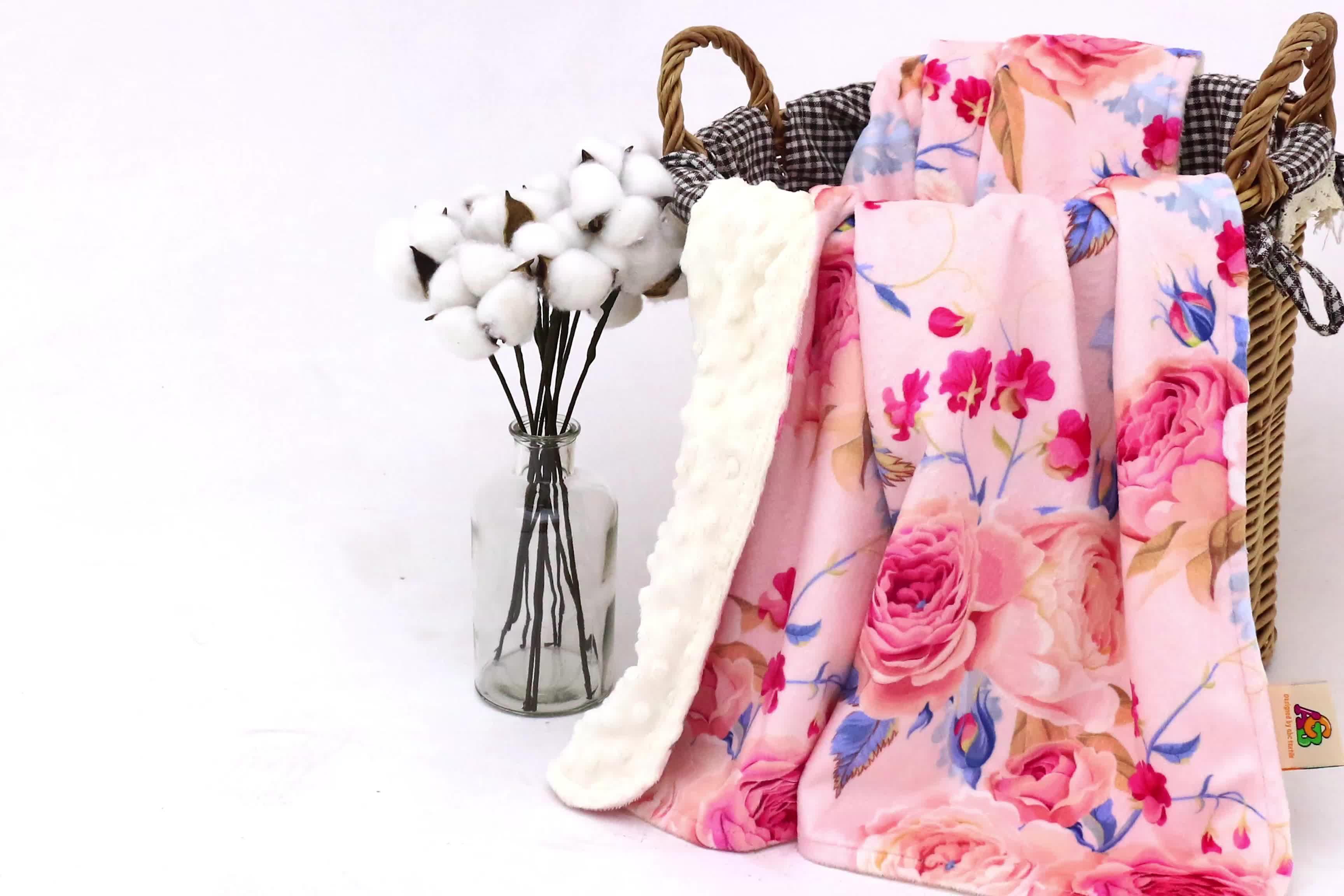 100% polyester super soft high quality custom printed minky satin pink ruffle blanket