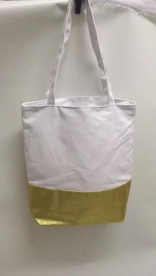 White cotton canvas tote bag with customized gold glitter bottom