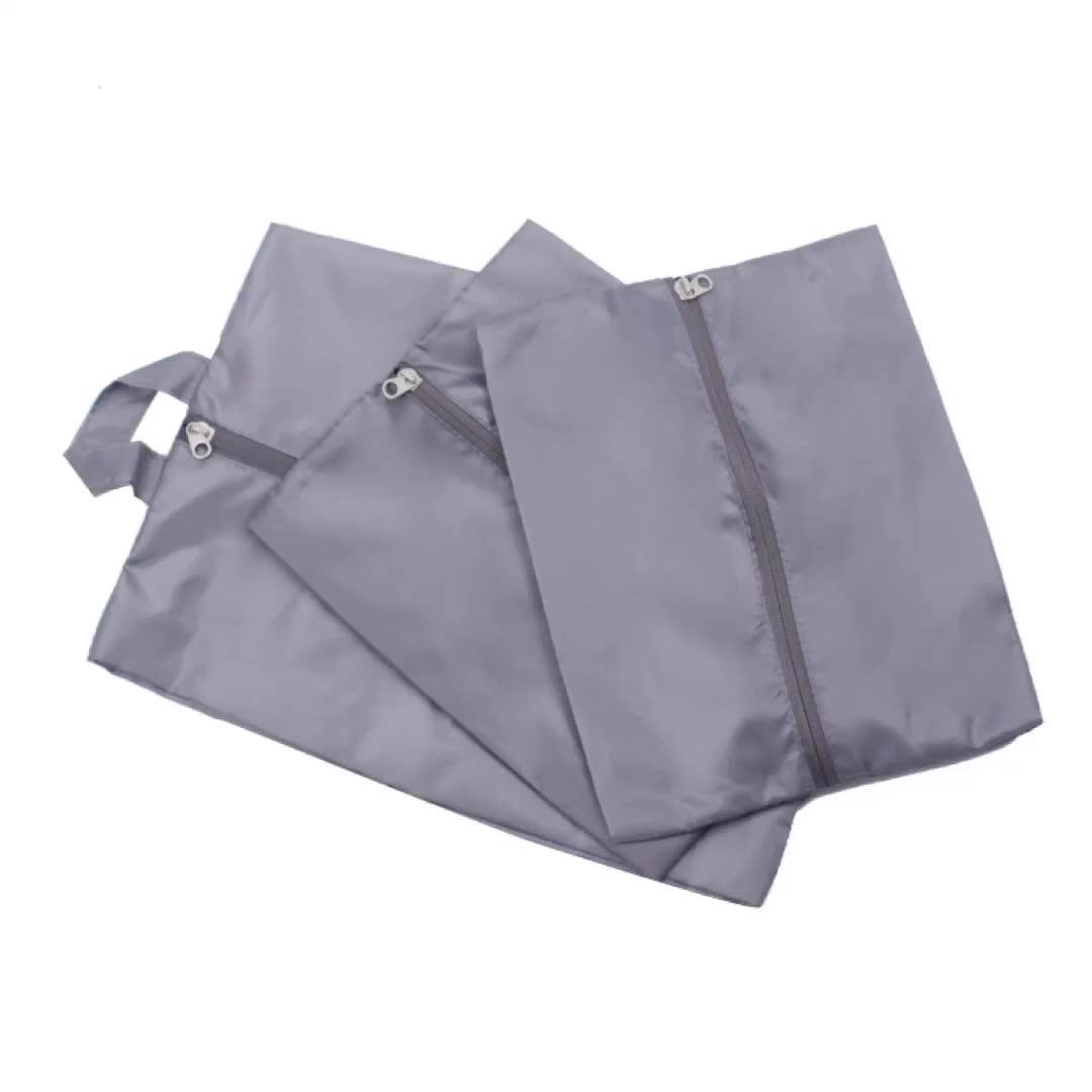Custom Reusable Nylon Shoe Bags Dusproof Durable Shoe Storage Zipper Bag