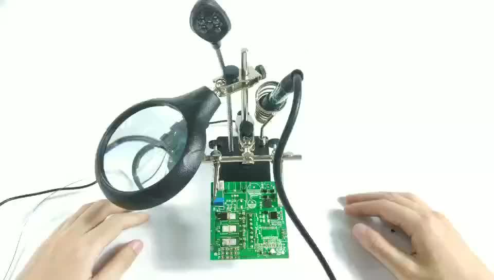 BEST-268 Auxiliary Clip Clamp Helping Third Hand Magnifying Glass 3x Zoom Magnifier For Soldering Tool