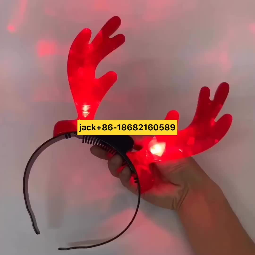 Vendita calda DELL'OEM di vendita della fabbrica Di Natale corna di renna forma glowing LED della fascia del partito colorato