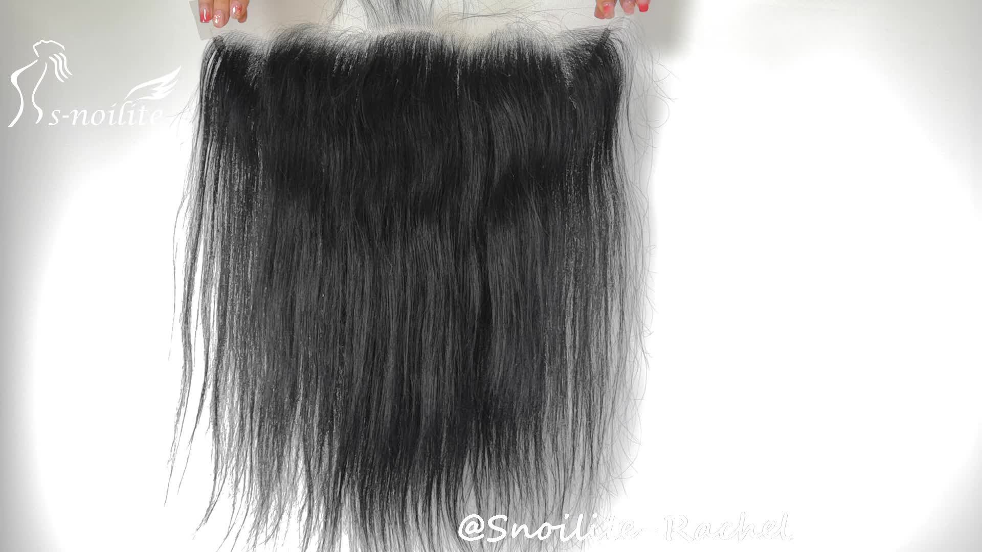 Raw Indian temple hair 100% Virgin hair Silky Straight transparent Swiss lace frontal 13x4