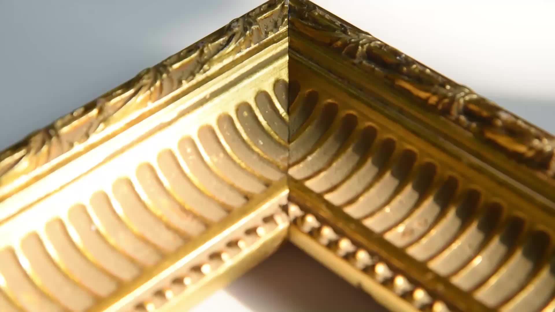 Distressed Gold Antique Painting Baroque Wood Frame Quadros Para Sala
