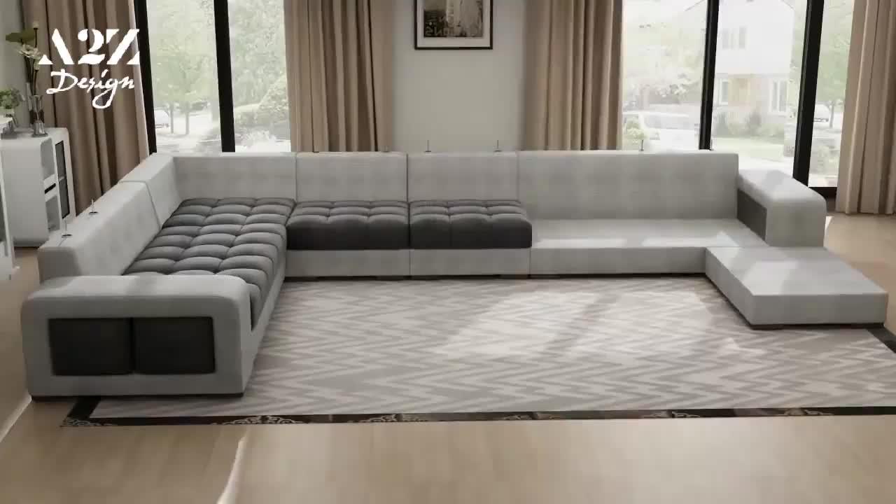 A2Z डिजाइन यू के आकार लक्जरी कमरे में रहने वाले सोफे अनुभागीय फर्नीचर 7 सीटों वाले यूरोपीय कपड़े सेट आधुनिक सोफे बिस्तर