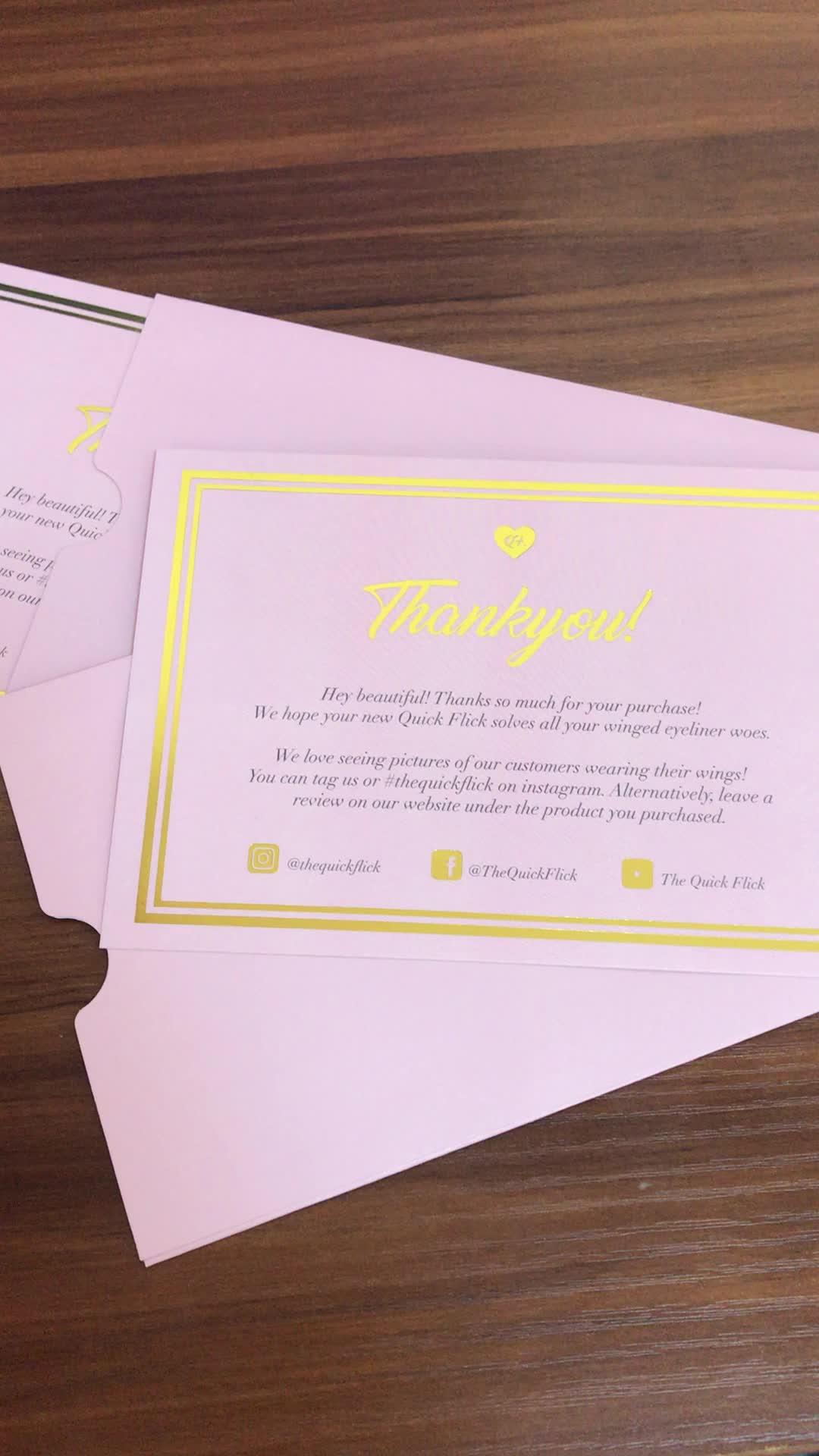전문 인쇄 럭셔리 골드 호일 뜨거운 스탬프 핑크 컬러 감사합니다 생일 행복 인사말 카드 봉투