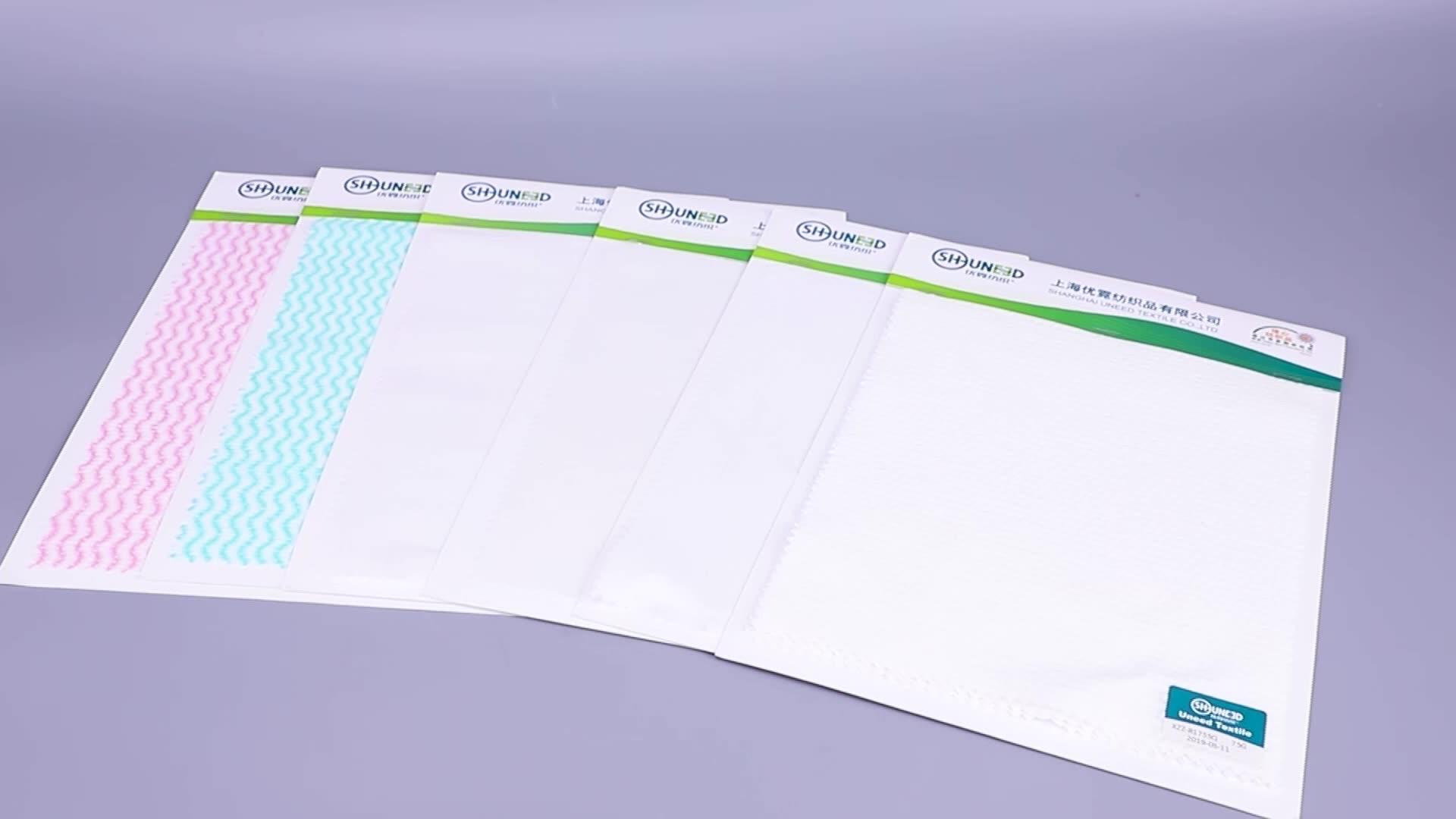 China Atacado 80gsm-Pérola dot Pattern Polyester/Viscose Spunlace Tecido não Tecido para Lenços Umedecidos