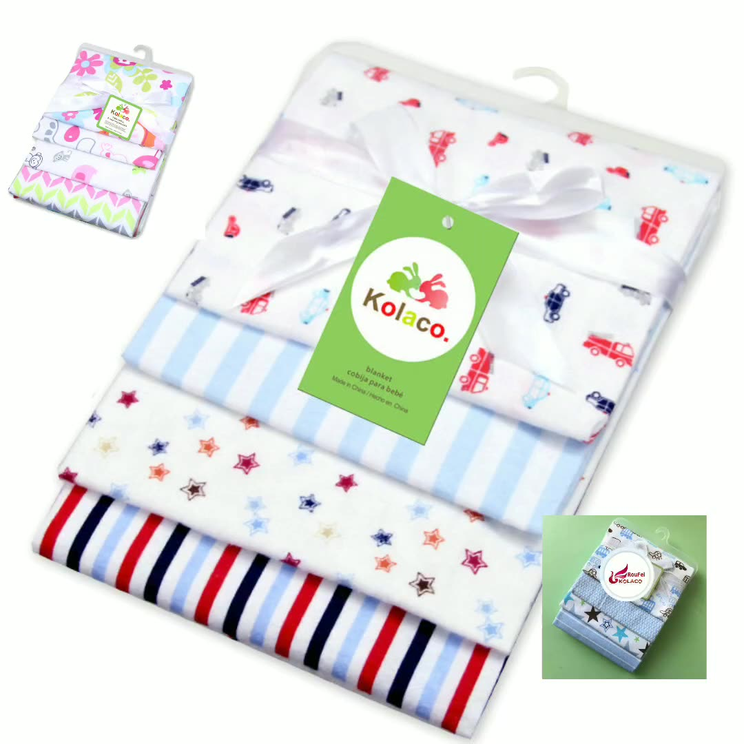 4 pack flannel swaddle wrap newborn infant receivingwholesale cheap price soft flannel fleece blanket