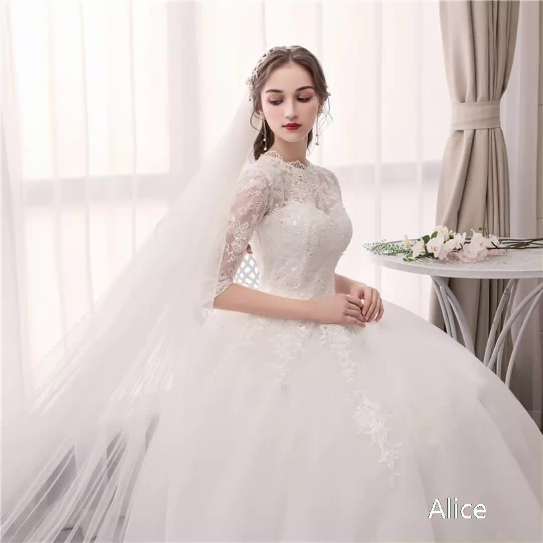 2019 Luxury Best sale Lace Wedding Dress White floor length ball gown Bride wedding dress