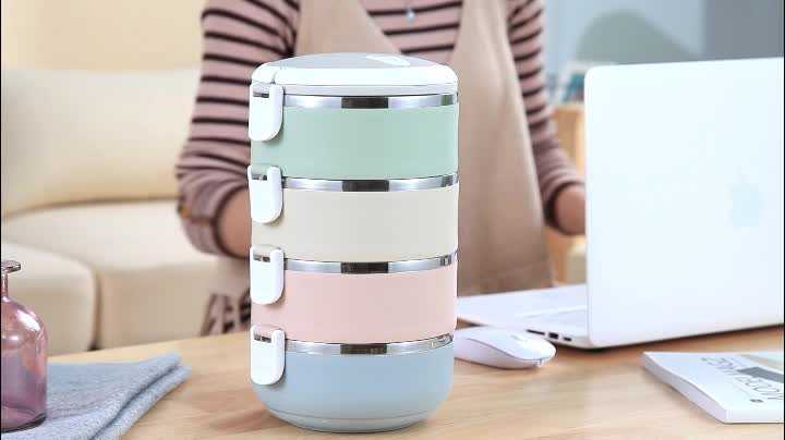 Gradient Color Japanese Round Lunch Box Thermal For Food Bento Box Stainless Steel LunchBox For Kids Portable Picnic School