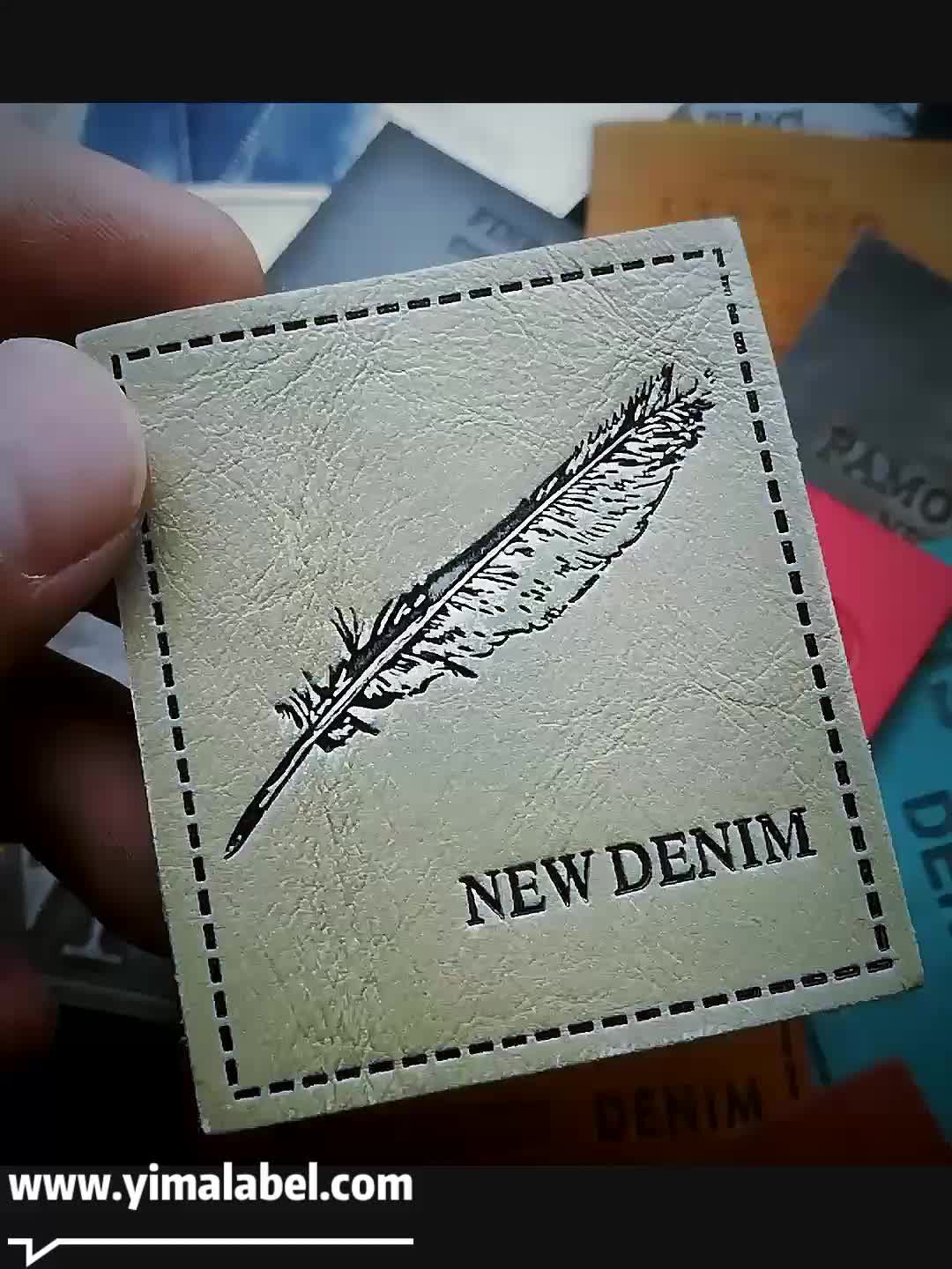 Custom LOGO Soft Debossed Foldable PU Patch Leather Label For Clothing Handbags And Jeans Garment