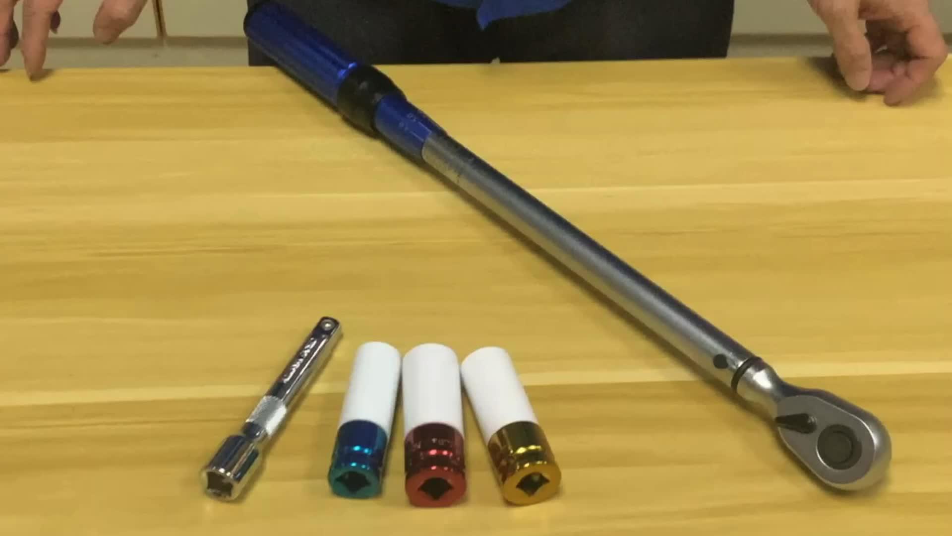 5 pièces 1/2 pouces 3 pièces Douilles 40-220 nm Mécanique Carrée Réglable À Cliquet Clé Dynamométrique À Tête Ensemble