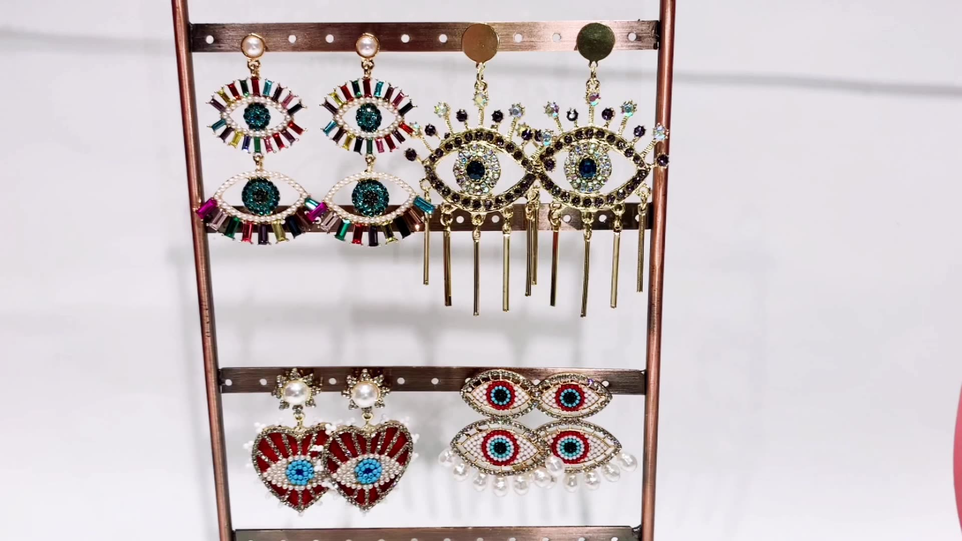Barlaycs 2020 Fashion Vintage Cute Rainbow Crystal Rhinestone Pearl Red Heart Seed Beaded Eye Drop Earrings for Women Jewelry