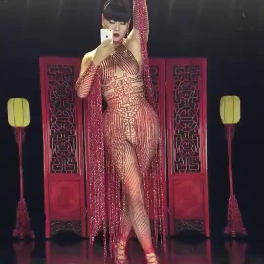 Women Long Red Tassel Skirt Red Glass Sparkling Crystals Nightclub Party Clothing Stage Wear Singer Dancer Costume DN1997