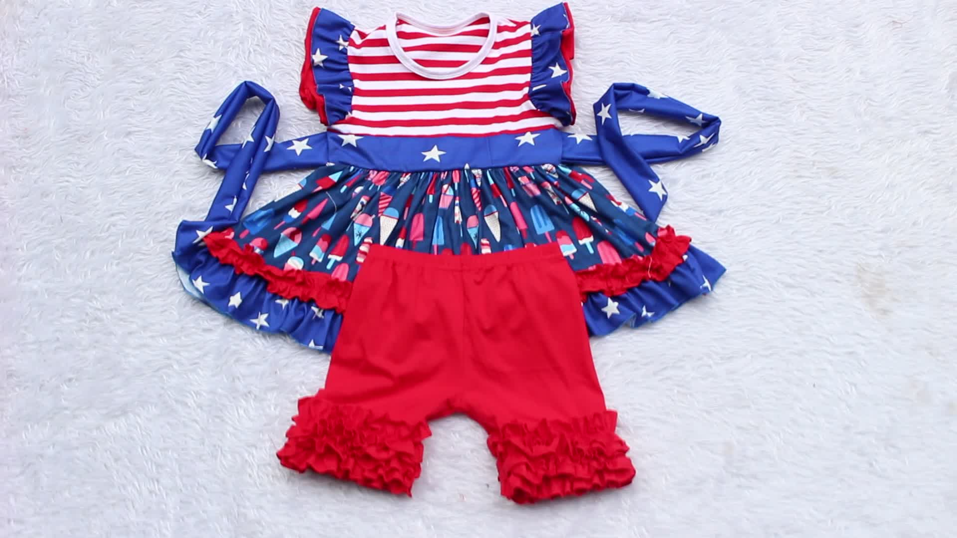 Cheap Wholesale Boutique Kids Clothing Infant Toddler Clothes Baby Cotton Sleeveless 2pcs Rompers +Headband