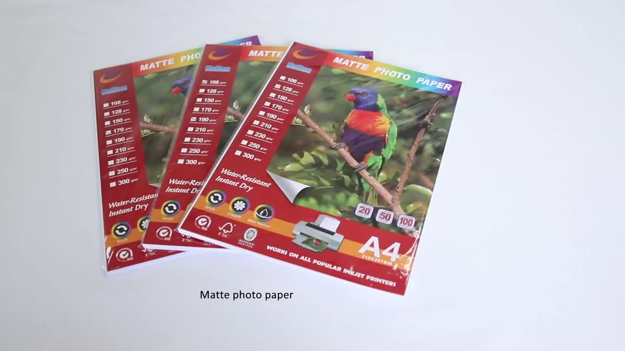 108g Factory Supply Good Quality Matte Paper Inkjet Photo Paper,Matte Photo Paper