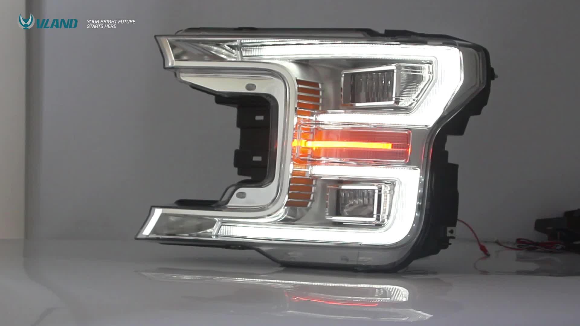 VLAND Atacado Dinâmica Turn Signal LED Full Lobo Cabeça luzes 2018 2019 led farol Para Ford F150
