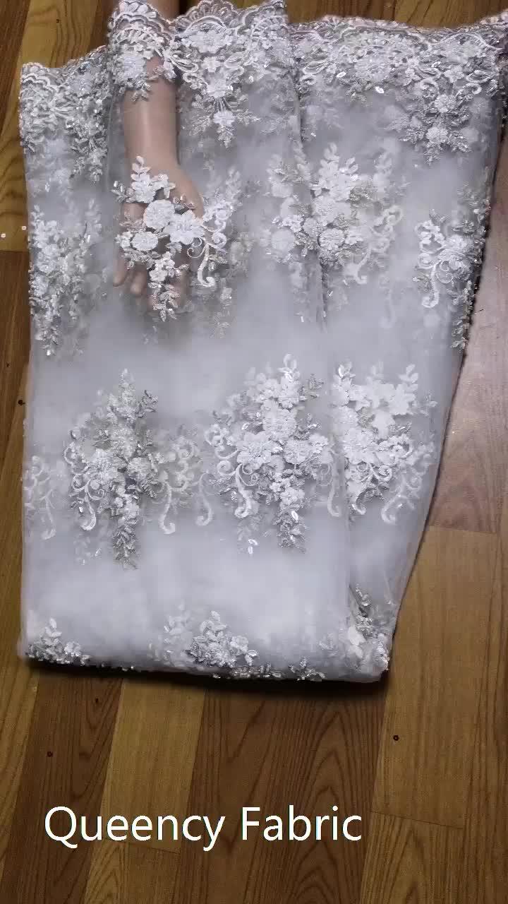 فستان مطرز فرنسي تول دانتيل فستان زفاف موضة خرزة صافي قماش دانتيل في المخزون قماش حفلات أفريقي