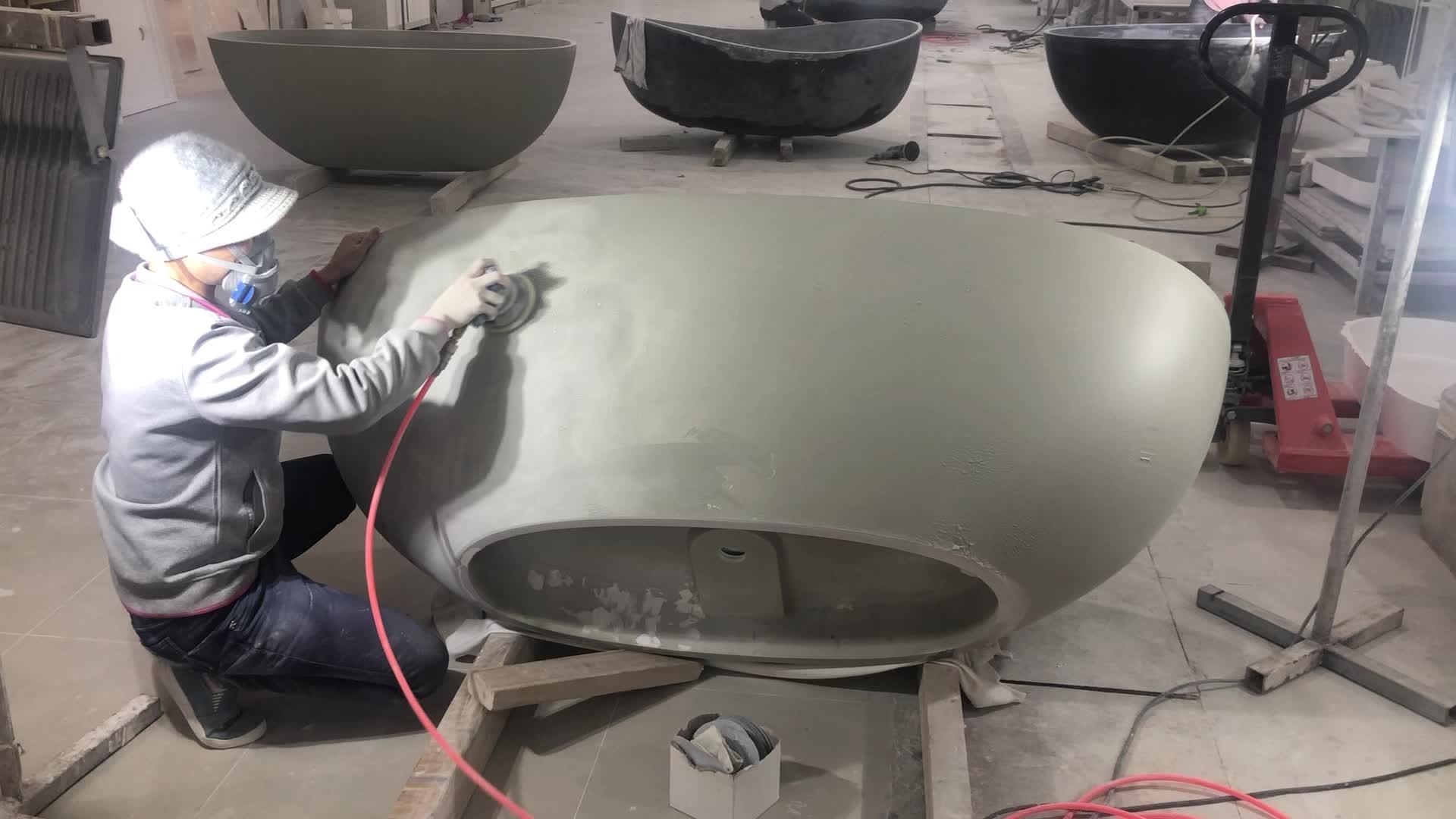 Siyah yapay mermer standı ücretsiz banyo küveti, iki kişi büyük boy katı yüzey kompozit taş reçine bağlantısız küvet