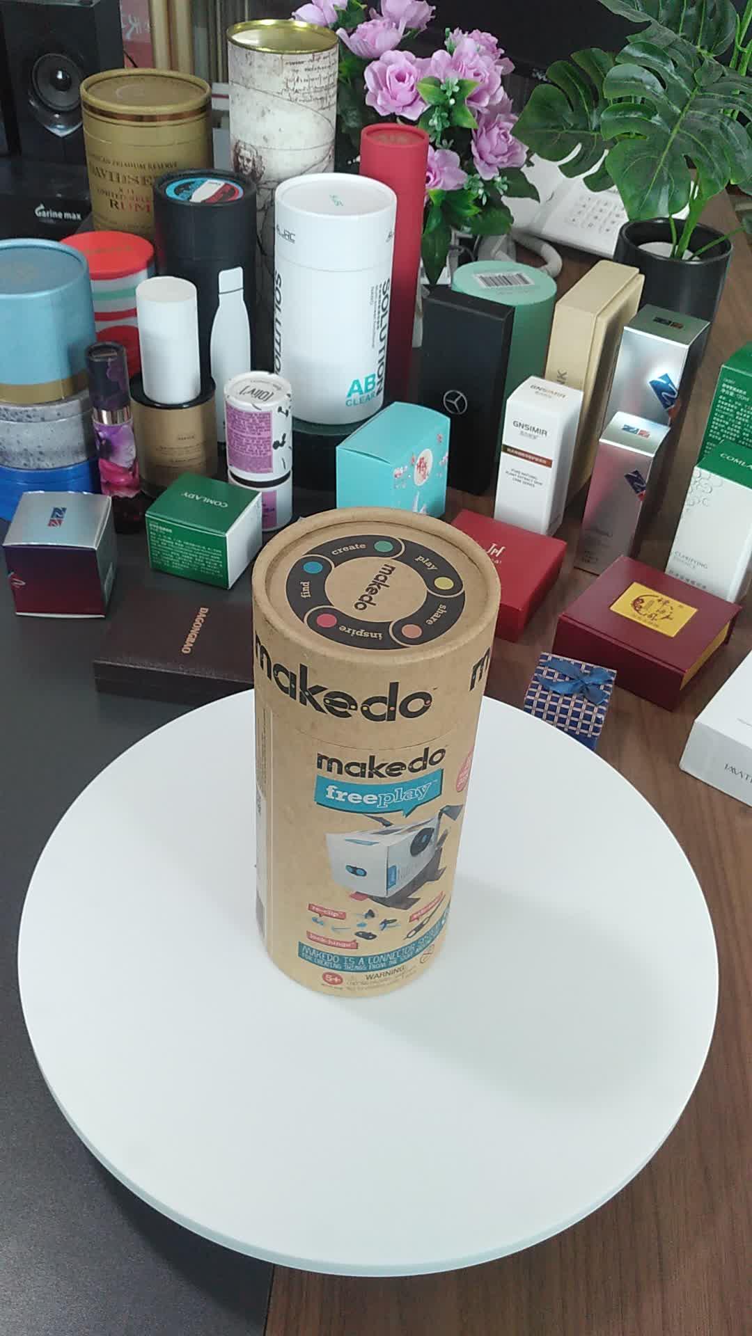 कस्टम डिजाइन मुद्रण के लिए आसान पर्यावरण के अनुकूल गत्ता दौर सिलेंडर पैकेजिंग उपहार बॉक्स चाय पैकेजिंग
