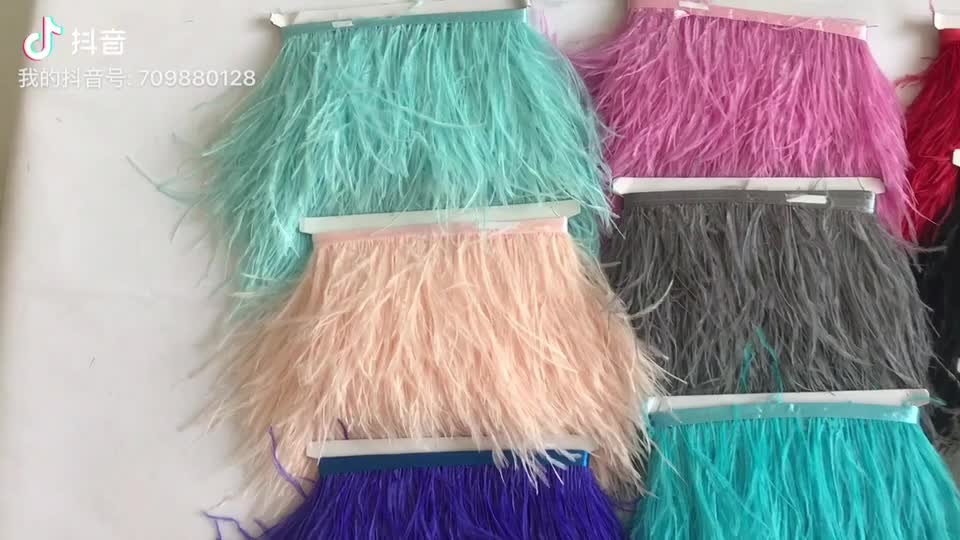 8-10cm soft and natural dyed ostrich feather trim for dress and sewing craft clothing