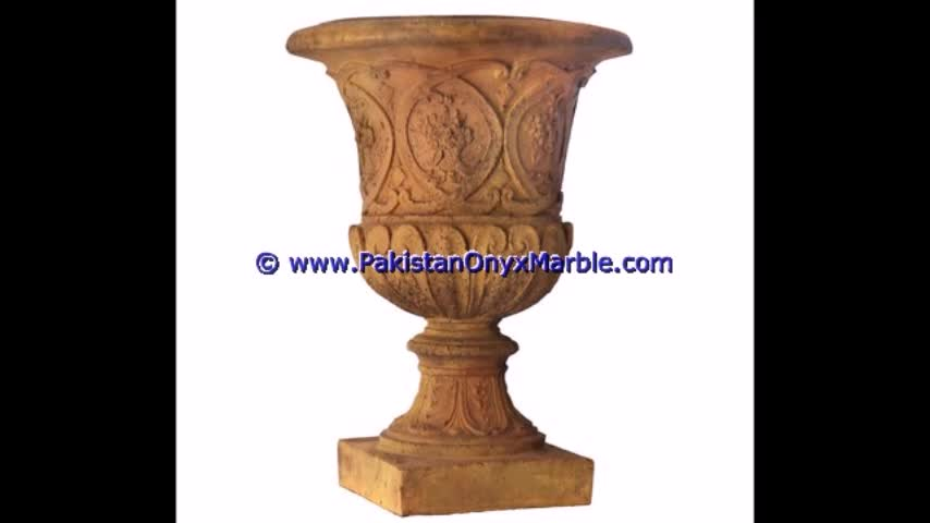 Hand Carving marble planters handcarved decorated flower vase pots indoor outdoor garden Indus Gold Inca marble