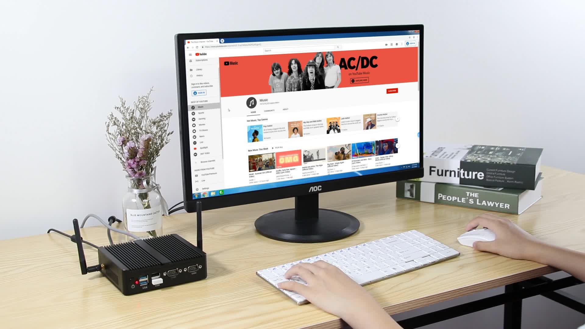 Không Quạt Công Nghiệp Dual Lan Nhỏ PC Intel I3 5005U 4010U 4010Y Máy Tính Máy Tính Để Bàn W/Dual COM 2 RS232 2 RJ45 Gigabit Cổng LAN