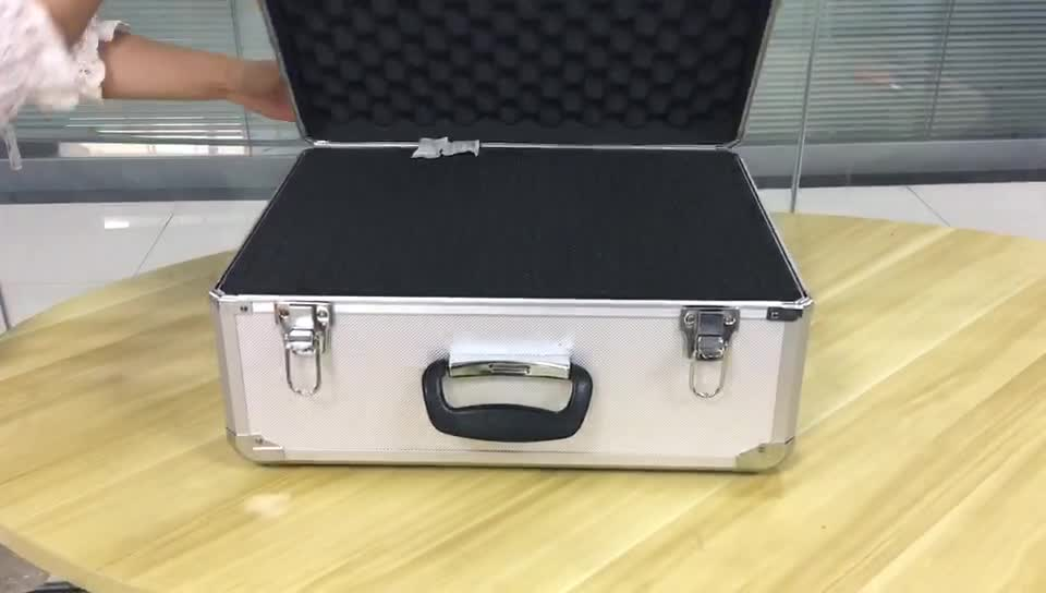 Large hard aluminum storage box carry case for camera with foam