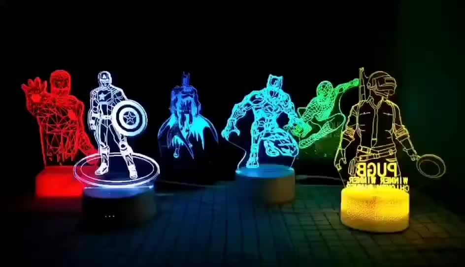 Diretto della fabbrica Del commercio all'ingrosso Del Fumetto 3D lampada luce di notte 10051 3D di visione