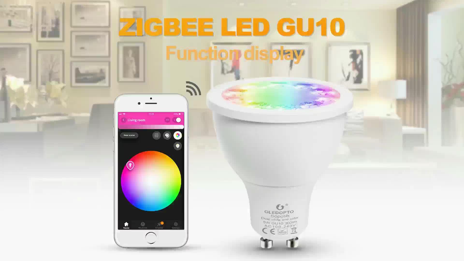 Alexa remote control light bulb 5W RGB reflector Christmas, zigbee smart MR16/ E27 lamp P hilips H ue GU10 led spotlight RGB+CCT