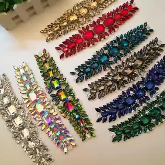Vidro Strass Cinto De Noiva Flor Patches Configuração Garra Prata Cristal AB Apliques De Costura DIY Acessórios de Vestuário