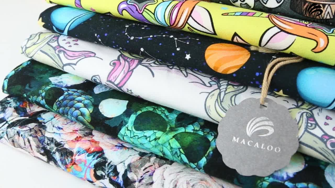 Custom fabric printing oeko tex certified digital printed cotton jersey fabric