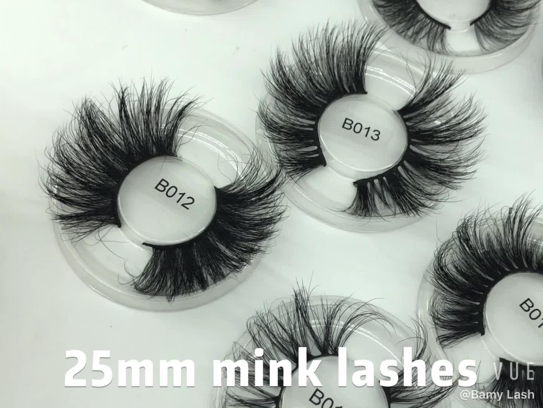 Vendor Vegan Lashes Wholesale Free Sample Available Long Life Used 100% Handmade 3d Mink 25mm Eyelashes