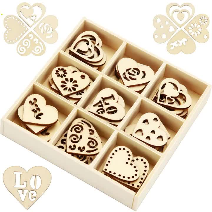 45 Pieces Wooden Ornaments Heart Wood Embellishments Crafts Set Hollow Design with Storage Tray, Mini Laser Cut Heart Shape