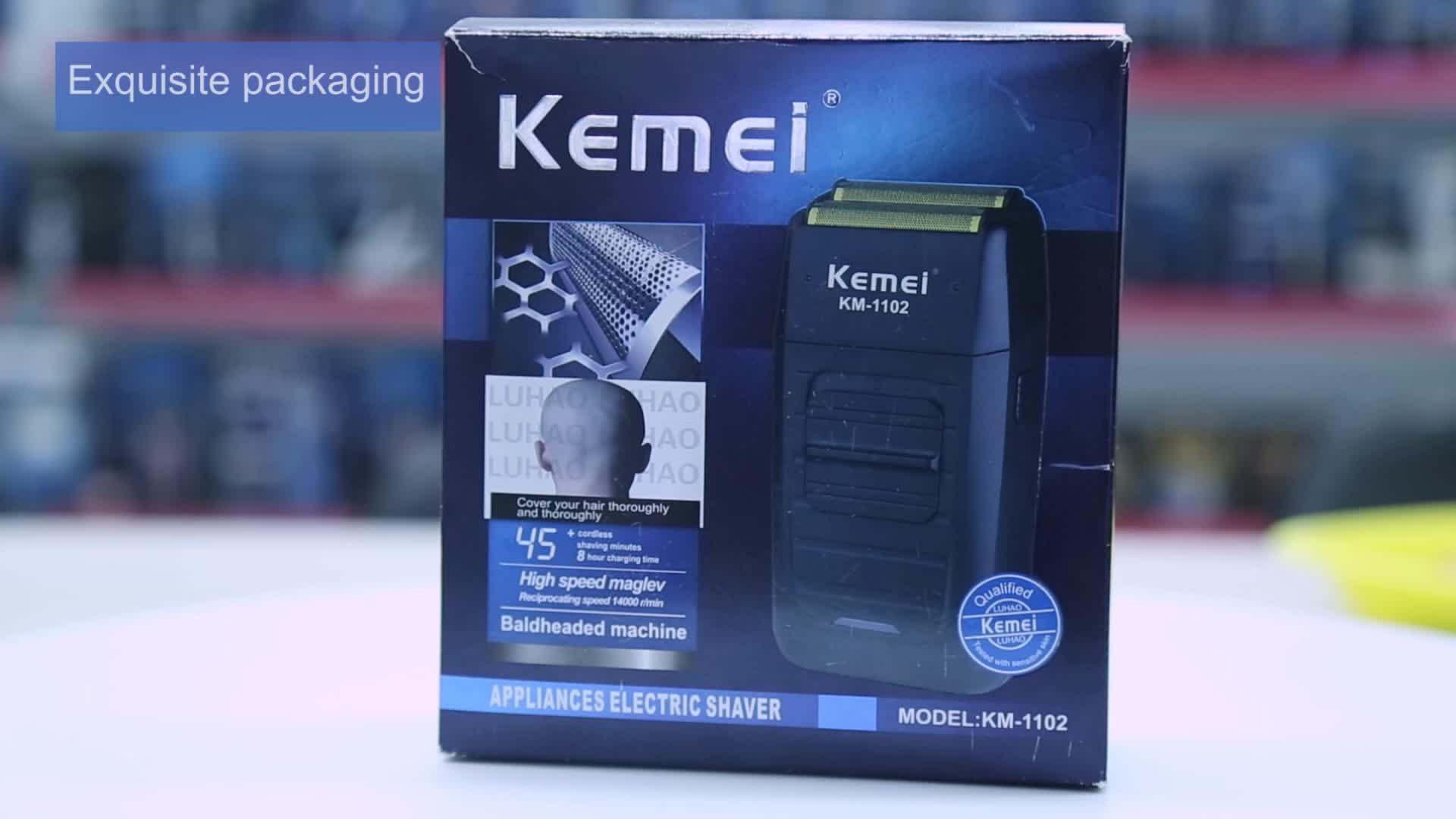 KM-1102 도매상 판매 충전식 남성 KEMEI 전기 면도기 팝업 면도기 도매
