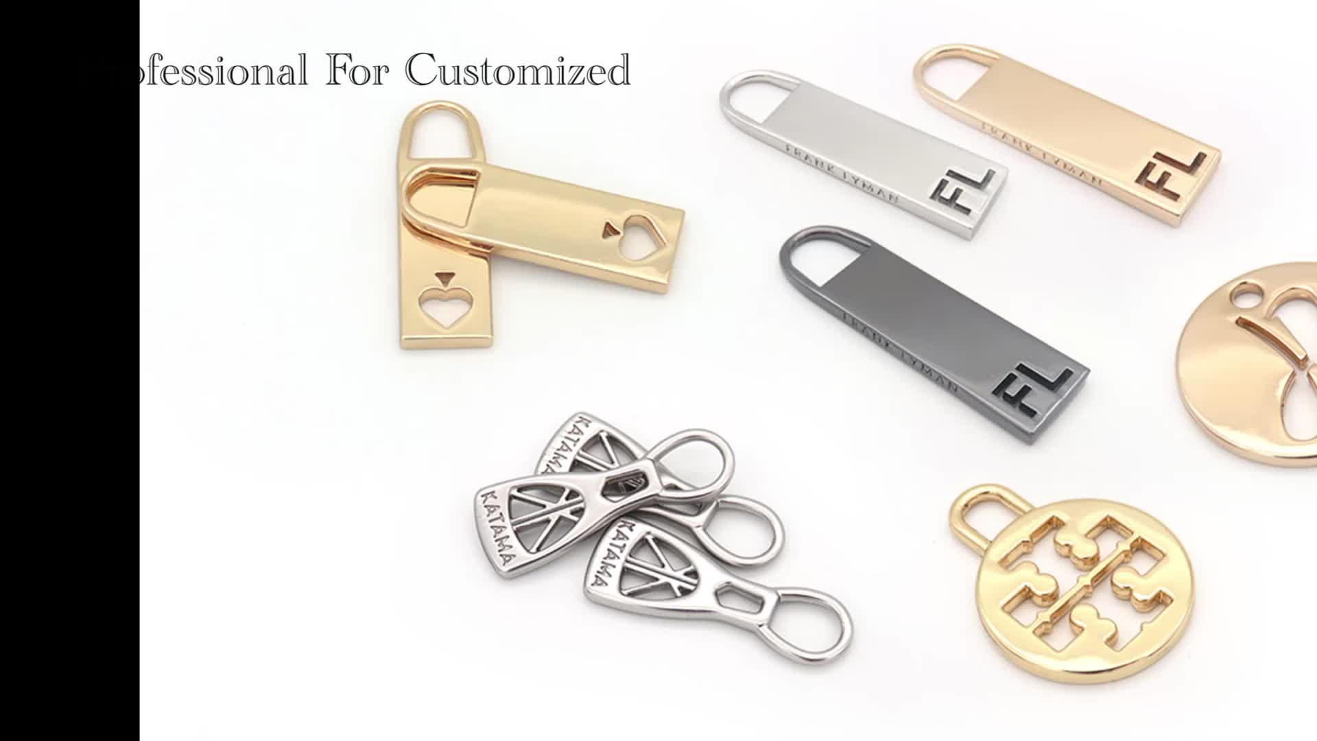 Indumento decorativo In Lega di Zinco Logo Personalizzato di Tiro del Metallo Cursore Della Cerniera Per Borse