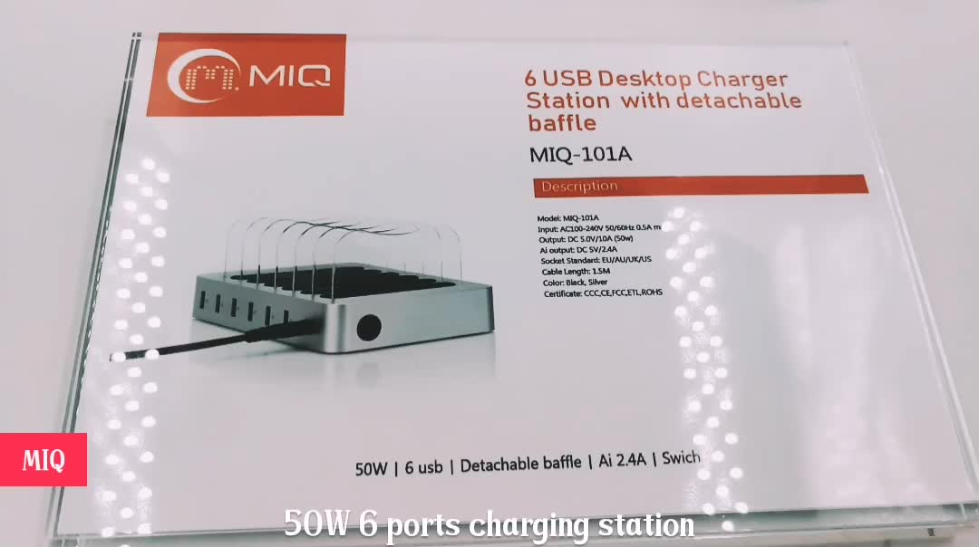 50w fast charger 6 USB charger multi charger station for electronic devices