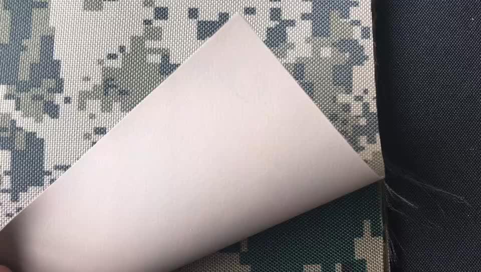Telas de fábrica forro impermeable 600D Pu recubierto impermeable transpirable Oxford tela de camuflaje barata
